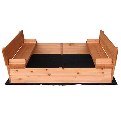 Square Design Fir Wood Sandbox W/Two Bench Seats For Kids Place Sea (Two Station Workbench)