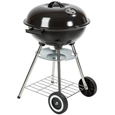 Barbacoa de carbón con tapa y ruedas kettle terraza jardín BBQ parrilla...