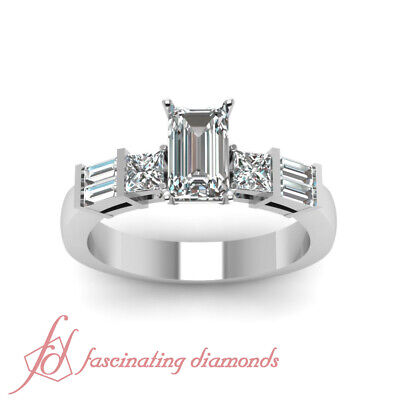 .70 Ct Emerald Cut Diamond Womens Engagement Rings Solid 14K White Gold SI1 GIA 1