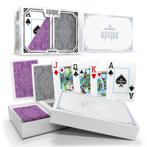New COPAG UNIQUE 100% Plastic Playing Cards Poker Size Jumbo Index Purple Grey
