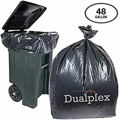 "45-48 Gallon Black Trash Bags For Toter 1.5 Mil Garbage 50 Per Case 46"" X"