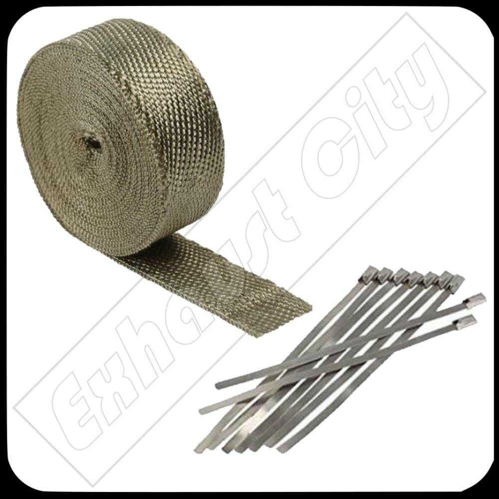 """NEW Roll With Stainless Ties Kit Titanium Exhaust//Header Heat Wrap 2/"""" x 50ft"""