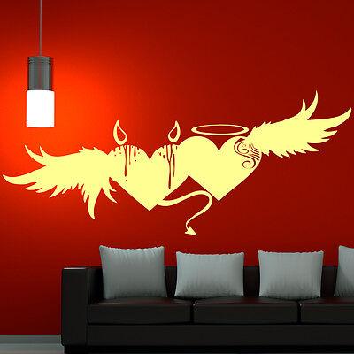 Wandtattoo Herz Flügel Liebe Teufel Herz Engel Herz Love Flügel Aufkleber (Tattoo Engelsflügel)