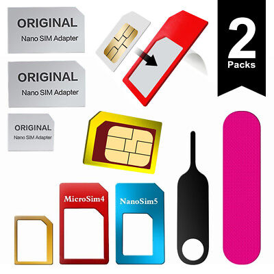 SIM Card Adapter Kit for All Phones 6 in 1 Pack Nano Micro Standard (2 packs) Card Adapter Kit