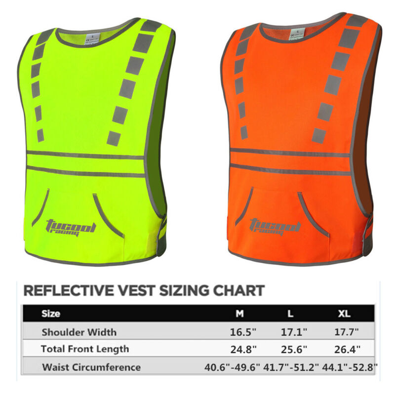 Tucoolracing Running Cycling Reflective Vest with 2 High Visibility Safety Bands