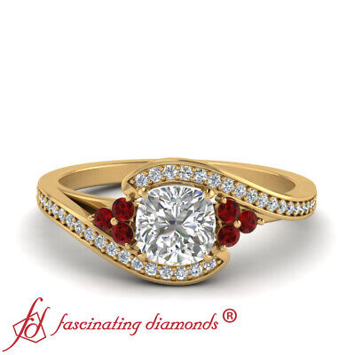 .75 Carat Cushion Cut Diamond Crossover Wedding Ring With Round And Ruby Accents