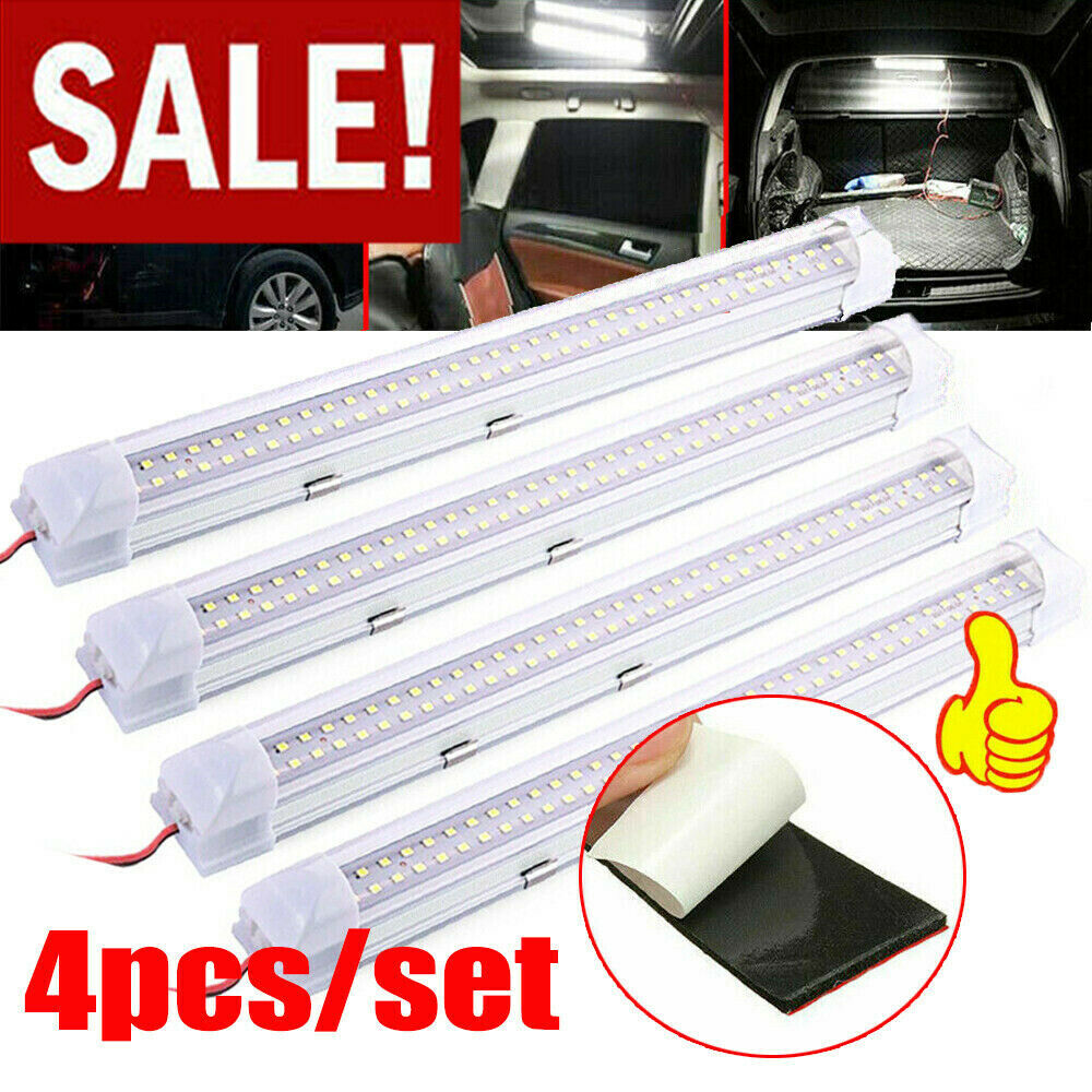 Car Parts - 4X 12V 72 LED Interior Light Strip Bar Car Van Bus Caravan ON/OFF Switch 12 VOLT