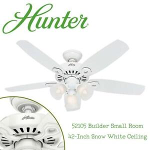 NEW Hunter Fan Company 52105 Builder Small Room 42-Inch Snow White Ceiling Condition: New