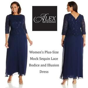 NEW Alex Evenings Womens Plus-Size Mock Sequin Lace Bodice and Illusion Dress Condtion: New, 22W, Navy
