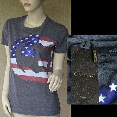 GUCCI Authentic New Womens Top T - Shirt sz XS 100% Cotton GG US Flag Colors