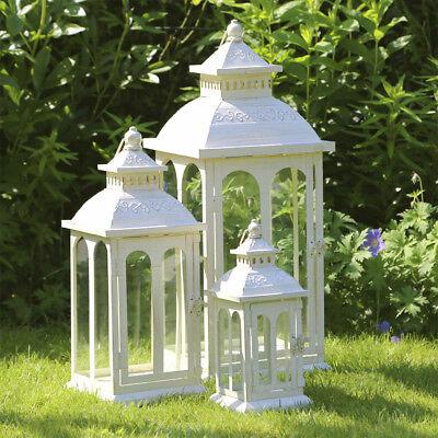 LANDHAUS Laterne COUNTRY creme weiß aus Metall mit Rundbogenfenstern 3 Größen