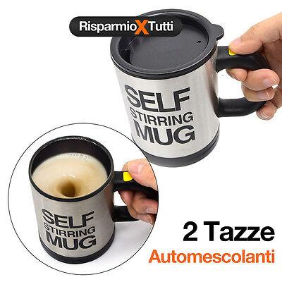 2 TAZZE AUTOMESCOLANTE TERMICA SELF STIRRING MUG MISCELA SCHIUMA Caffè