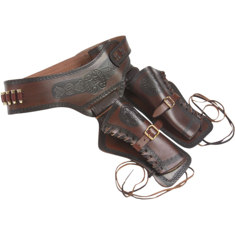 Old West Leather Double Sided Holster w/ Replica Bullets