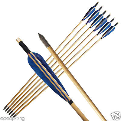 6Pcs Vintage Wooden Arrows Turkey Feather Wood Shaft for Archery Hunting Outdoor