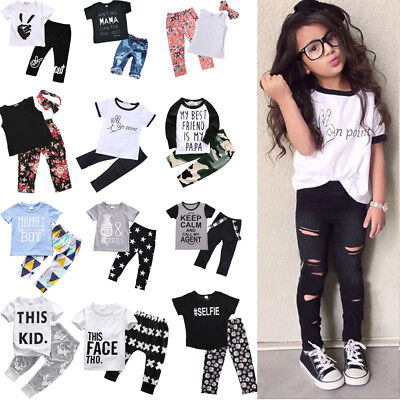 Toddler Kids Boy Girls T-shirt Tops+Long Pants 2Pcs Outfits Babysuit Clothes Set - Girls Apparel