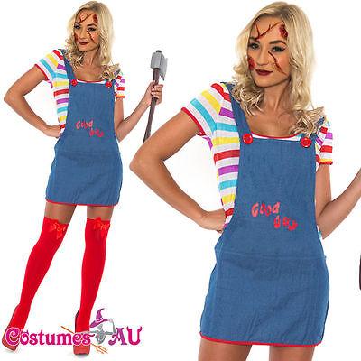 Ladies Scary Horror Costume Doll Halloween Fancy Dress Up Womens - Scary Dolls Halloween Costume