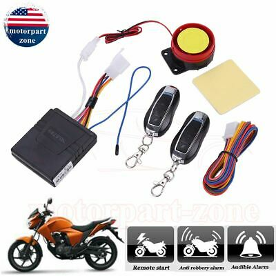 Motorcycle Scooter Security Alarm System Anti-theft Remote Control 12V Universal