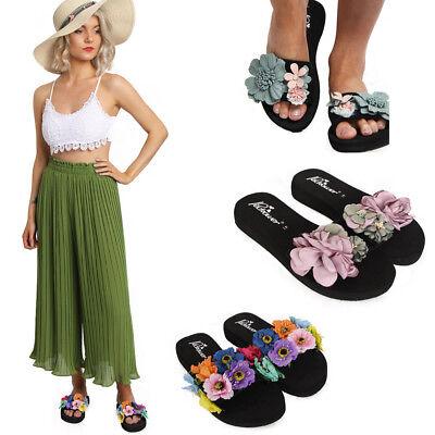 Ladies Women Beach Flower Wedge Platform Flip Flop Sandal Slipper Shoes Sliders Platform Wedge Flip Flop
