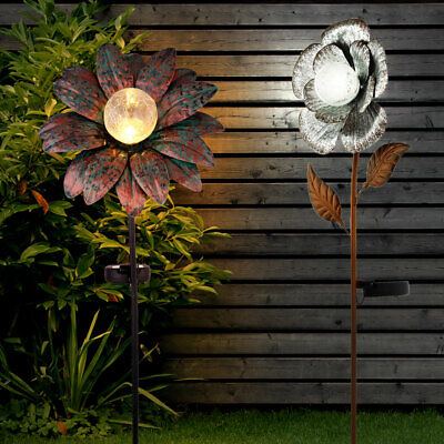 2x LED solar flower plug-in lamps rust silver garden outdoor decoration lights