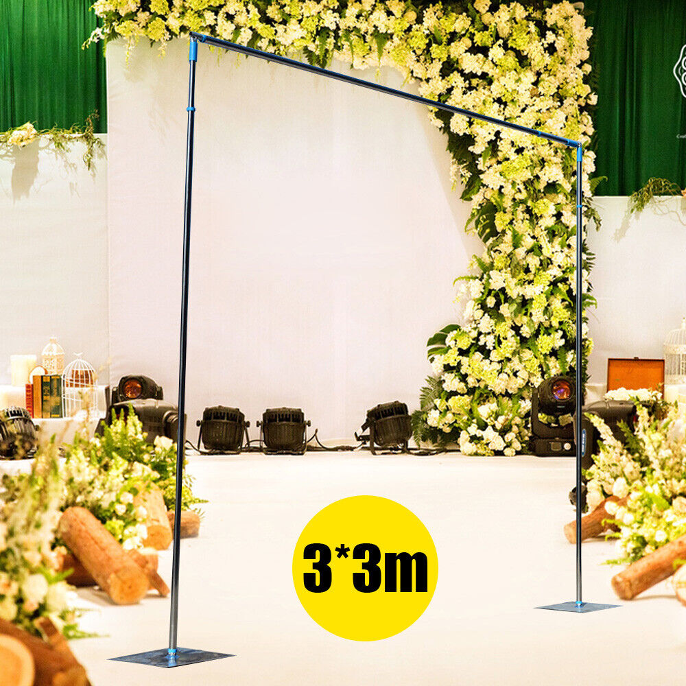 3X3M Telescopic Curtain Wedding Backdrop Stand Support Frame Pipe Pole
