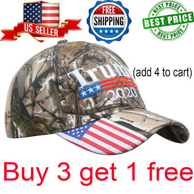 US Donald Trump 2020 MAGA Camo Embroidered Hat Make America Great Again Cap LY