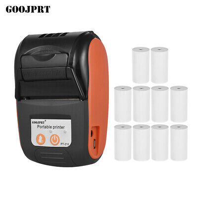 Mini Wireless 58mm Bt Thermal Printer Receipt 10pcs Paper For Android Ios W2q0