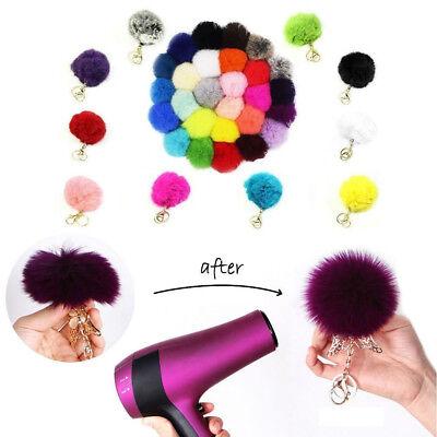 - Xmas Handbag Key Ring Rabbit Fur Ball PomPom Cell Phone Car Pendant Keychain