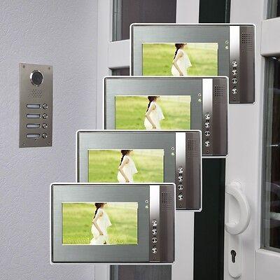 4 Familienhaus Farb Video Türsprechanlage 7 Zoll Monitor LED Nachtsicht Cam 110°