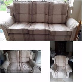 Cream Fabric Three Seater, Two Seater and Armchair Sofa Set