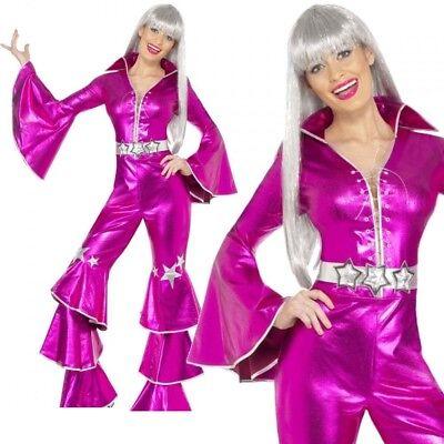 70s Pink Dancing Queen Costume Music Waterloo Mamma Mia Adult Fancy Dress - Mamma Mia Fancy Dress Kostüm