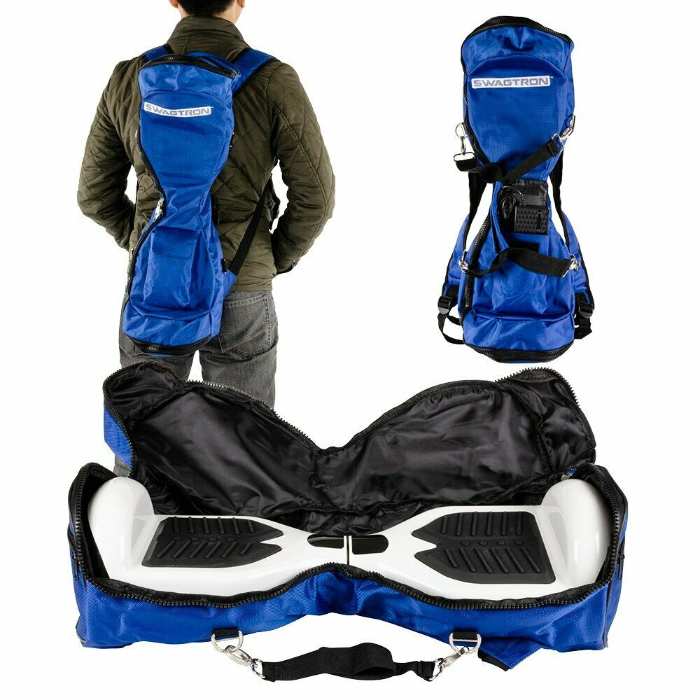 blue and black backpack carrying bag