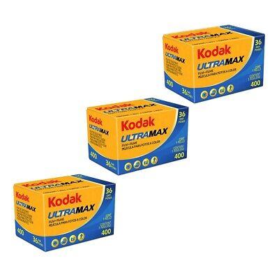 3x Kodak Gold UltraMax 400ASA 35mm Colour Print Film 135-36 Exposure