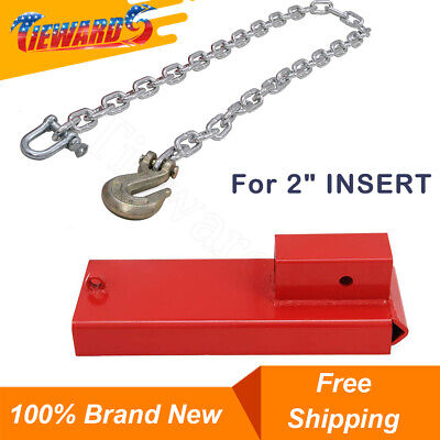 2 Insert Forklift Hitch Receiver Pallet Forks Trailer Towing Adapter With Chain