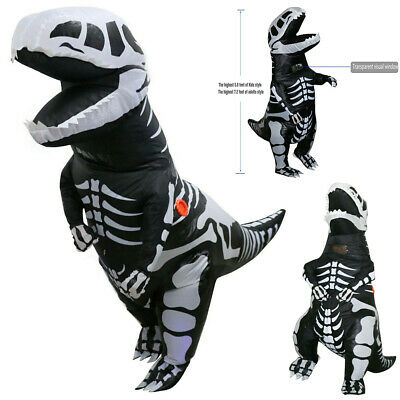 T Rex Inflatable (T-REX Dinosaur Inflatable Skeleton Costume Dino Fossil Adult Suit w/Battery)