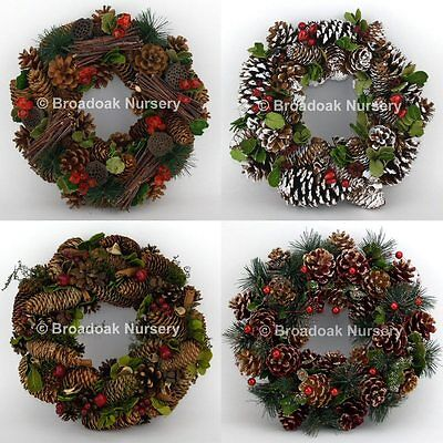 30cm CHRISTMAS WREATH DECORATION, Door, Fireplace, Bannister, Table, Pine Cones (Fireplace Christmas Door Decorations)
