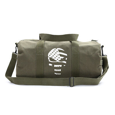 Vintage Sport Army Heavyweight Canvas Duffel Bag Punisher Flag in Olive & White