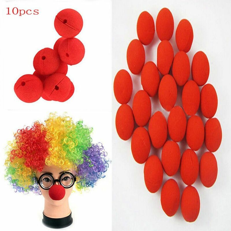Adorable Red Halloween Circus Foam Clown Nose Costume 10pcs Party Comic