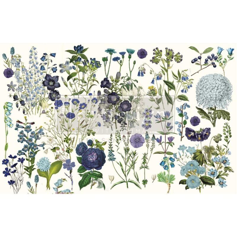 Blue Meadows Decoupage Decor paper by redesign with Prima! New Release!