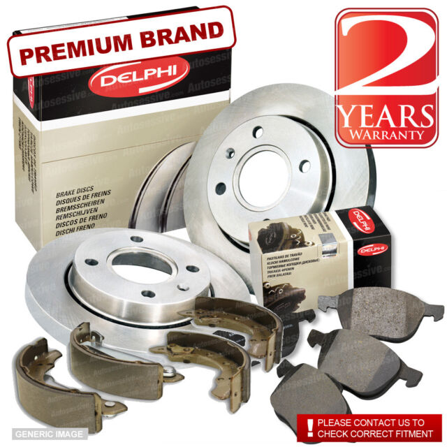 Chrysler Sebring 2.0 Crd Front Brake Pads Discs 302mm & Rear Shoes 168mm 140