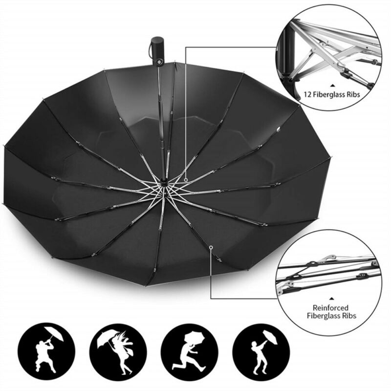 Mens Business Automatic Open Close Umbrella Ladies Compact Folding Windproof US