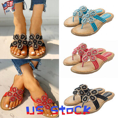 Sandals Women Casual Shoes Fashion Floral Bead Boho Ladies Flat Beach Summer US](Beaded Sandals)