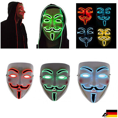 LED Licht Guy Fawkes Maske V wie Vendetta Anonymous Cosplay Halloween Fasching