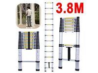 3.8M 12.6FT Multi-Purpose Telescopic Scalable Ladder Aluminium 150KG- NEW BOXED