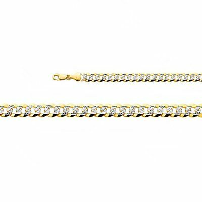 Solid 14K Yellow Gold Cuban Curb Chain White Pave Necklace Pendant Two Tone