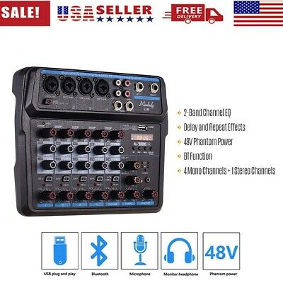 6 Channels Audio Mixers BT USB Mixing Console with Sound Card 48V Phantom w C0E6
