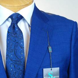 SS40 50L STEVE HARVEY Slate Blue SUIT SEPARATE  50 Long Mens Suits