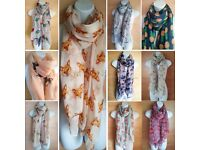 Scarf Wholesale Sale, Animal Butterfly Birds etc Womens Joblots Fashion Scarves (10 pcs)
