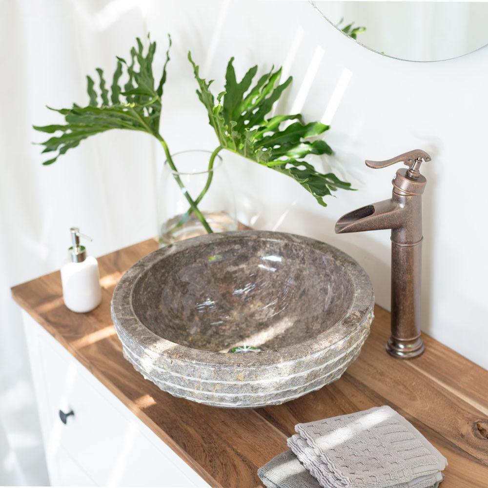 Naturstein Waschschale 40 cm Marmor Waschbecken grau Steinbecken von wohnfreuden