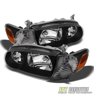 For Blk 2001-2002 Toyota Corolla Headlights+Corner Signal Lamps Left+Right 01-02