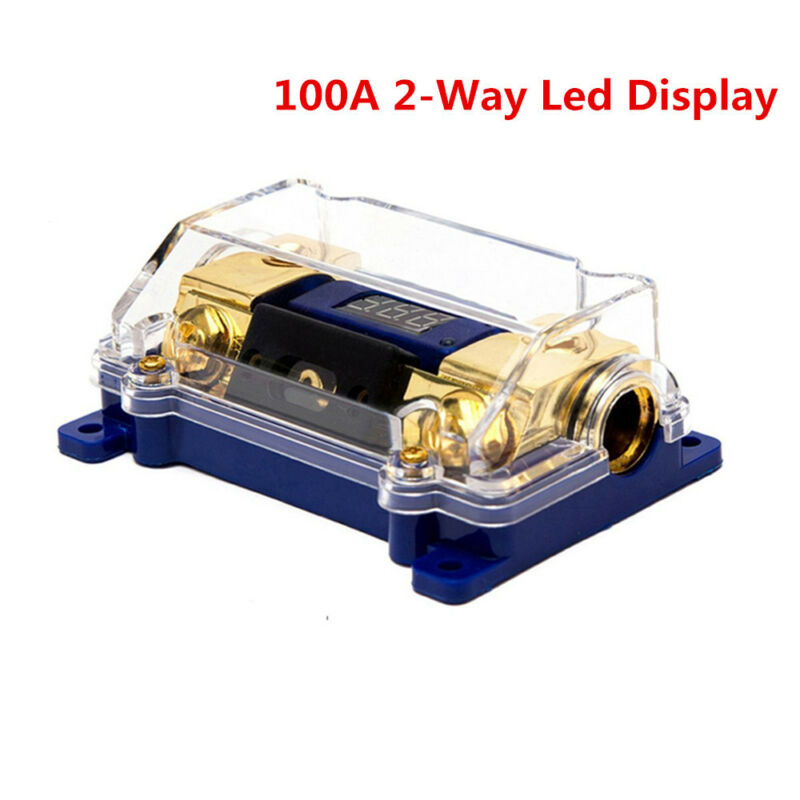 100A 2-Way Car Audio Power Fuse Holder Electrical Grounding Cable Connecting Led